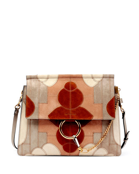Faye Suede Patchwork Shoulder Bag, Gray