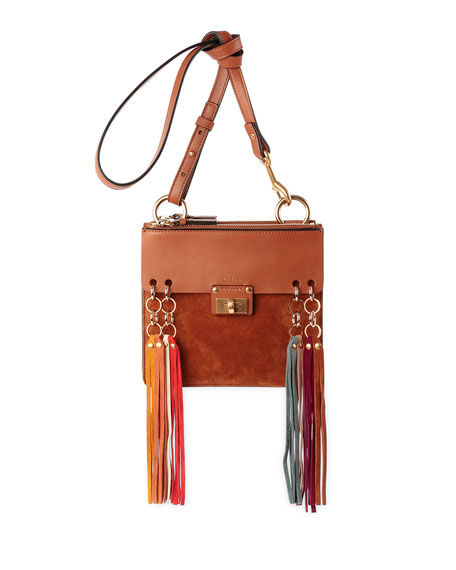 Chloe Jane Tassel-Trim Leather Crossbody Bag, Caramel
