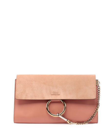 Chloe Faye Leather \u0026amp; Suede Clutch Bag, Rose