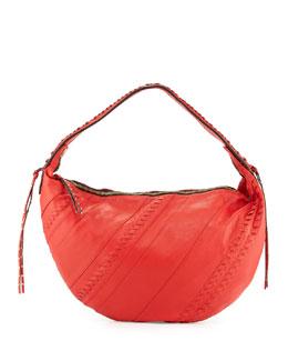 Tori Leather Hobo Bag, Flame