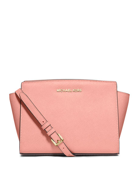 Selma Medium Saffiano Messenger Bag, Pale Pink