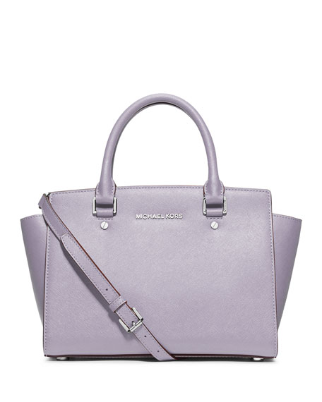 Selma Medium Top-Zip Satchel Bag, Lilac