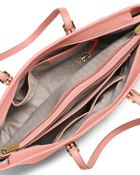 Jet Set Travel Medium Saffiano Multi-Function Tote Bag, Pale Pink