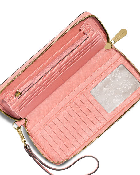 e8c58973fec3 Michael Kors Ladies Wallets In Pale Pink. Lyst - Michael Kors Jet Set  Travel Saffiano Leather Continental Wallet ...