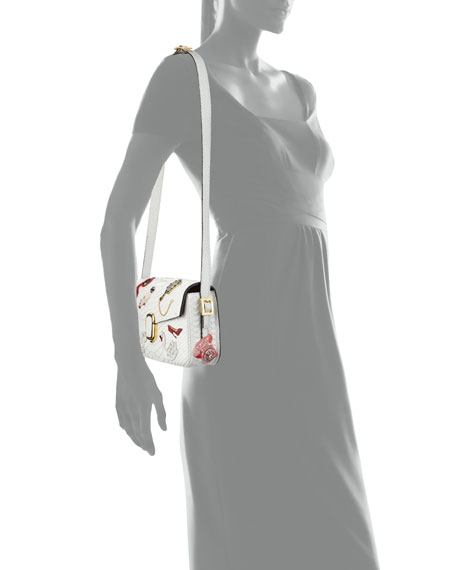 J Marc Embroidered Python Shoulder Bag, White