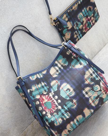 Peyton Horseferry Check Print Shoulder Bag, Brilliant Navy