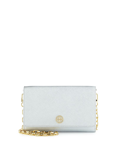 Robinson Leather Wallet on Chain, Soft Silver