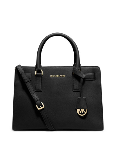 Dillon Saffiano Leather East-West Satchel Bag, Black