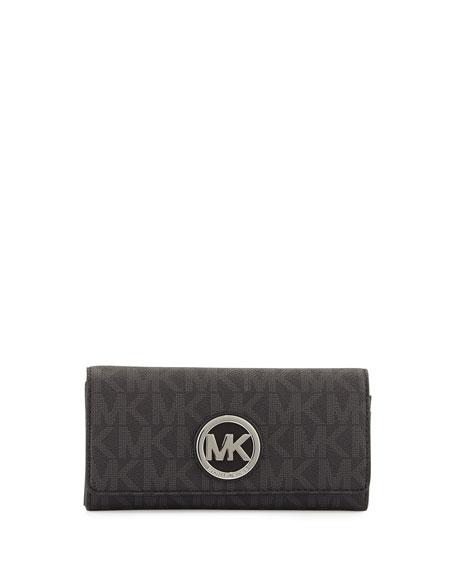 MICHAEL Michael Kors Fulton Leather Carryall Wallet, Black