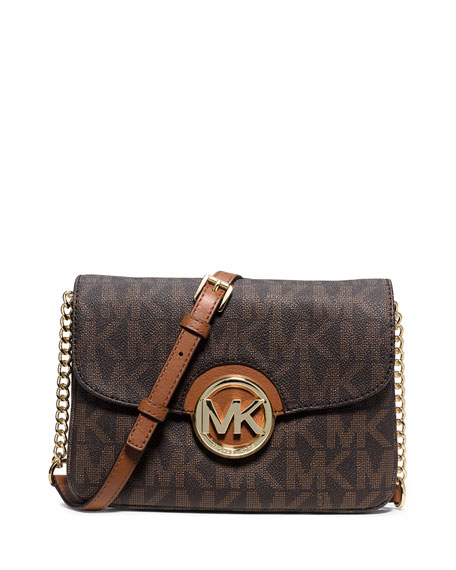 Fulton Flap Gusset Crossbody Bag Brown