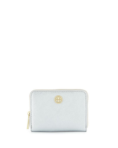 Robinson Saffiano Zip Coin Bag, Soft Silver