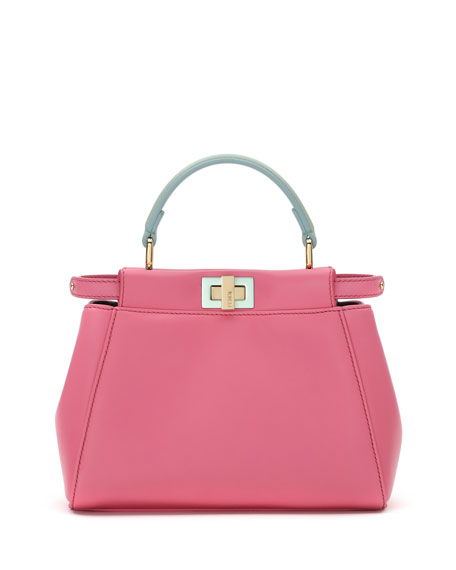 Peekaboo Micro Leather Satchel Bag, Pink