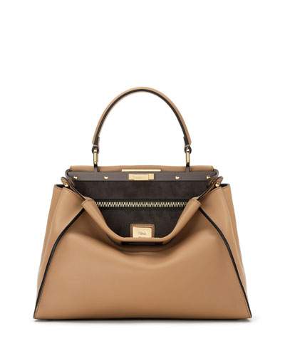 Fendi Peekaboo Medium Leather Satchel Bag, Camel