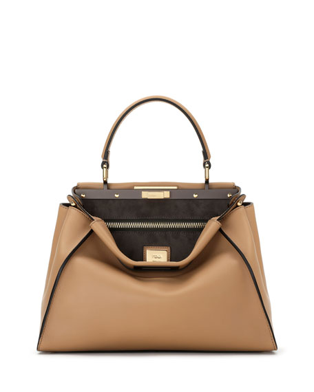 FendiPeekaboo Medium Leather Satchel Bag, Camel