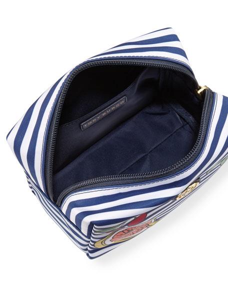 Brigitte Striped Nylon Cosmetics Bag, Navy Stripe