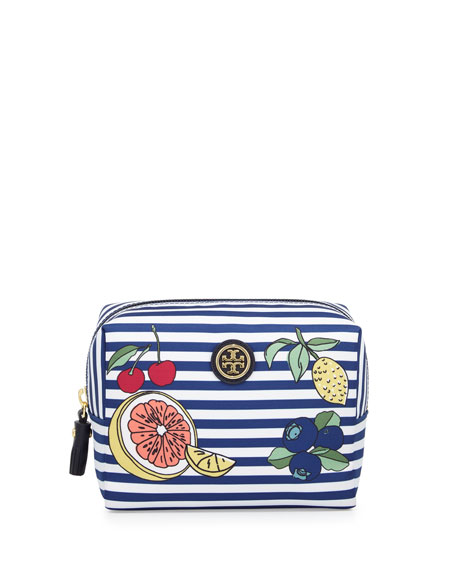 Brigitte Striped Nylon Cosmetics Bag, Navy Stripe