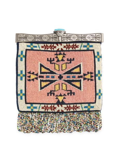Valentino Metal-Frame Beaded Fringe Shoulder Bag, Multi