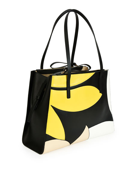Floral Medium Calfskin Tote Bag, Lemon/White