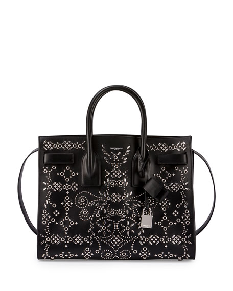 Sac de Jour Studded Leather Satchel Bag, Black