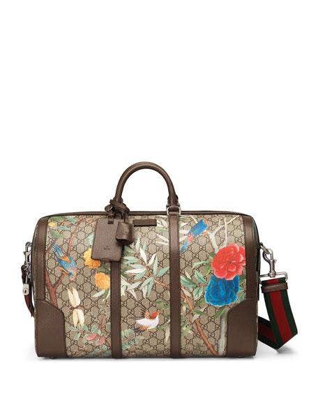 Gucci Large Tian-Print GG Supreme Canvas Duffel Bag,
