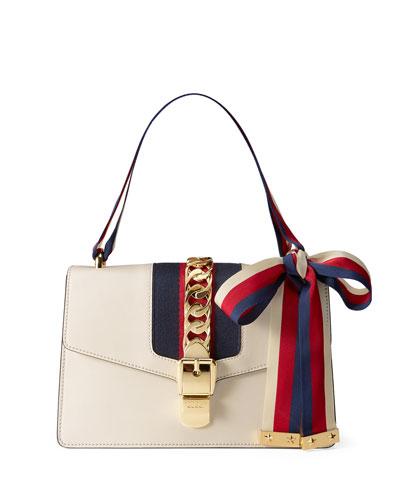 Sylvie Grosgrain-Striped Shoulder Bag, White/Red/Blue