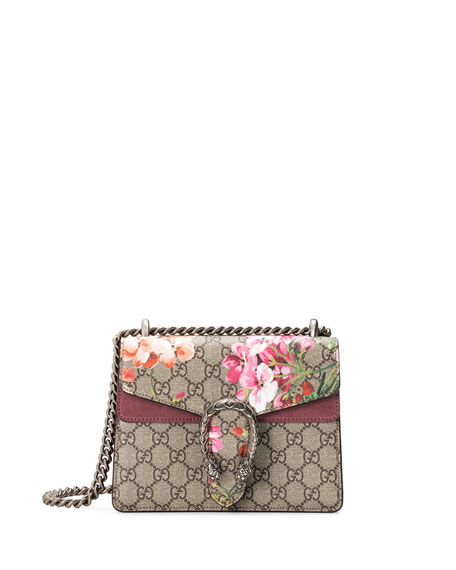 Mini Dionysus Gg Blooms Canvas & Suede Shoulder Bag - Beige in Pink