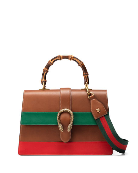 Gucci Dionysus Striped Bamboo Top-Handle Bag, Cuir/Green/Red
