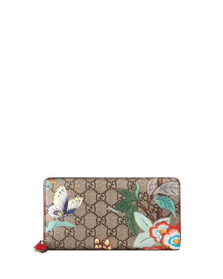 Gucci Tian GG Supreme Zip Wallet, Multi