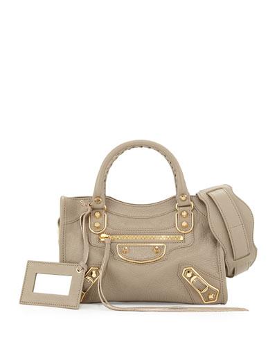Balenciaga Edge City Mini Goatskin Satchel Bag, Gray