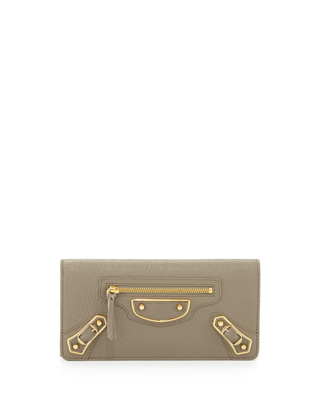 Balenciaga Edge Money Leather Wallet, Gray
