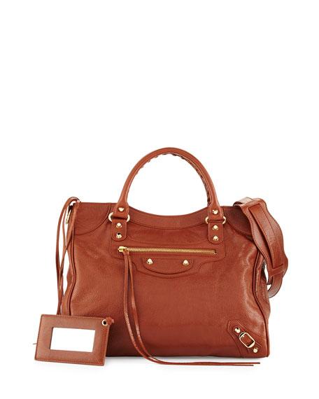 Balenciaga Classic Gold Velo AJ Leather Bag, Cognac