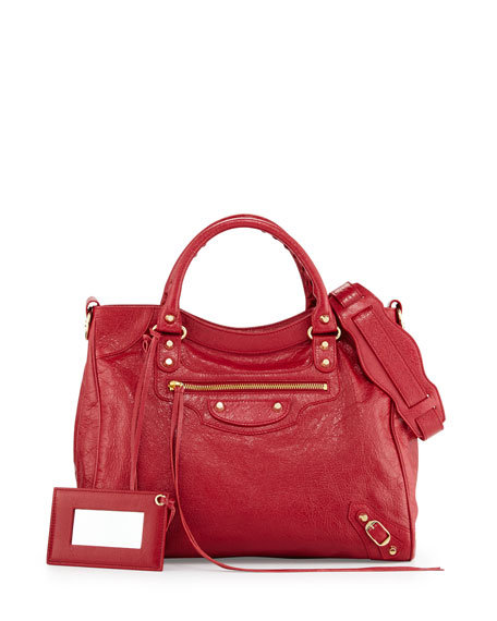 Balenciaga Classic Gold Velo AJ Leather Bag, Cherry