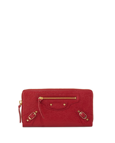 Balenciaga Classic Golden Lambskin Zip Continental Wallet, Cherry
