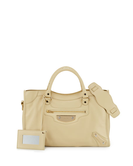 Balenciaga Metal Plate City AJ Satchel Bag, Beige