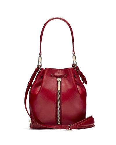 Cynnie Mini Leather Bucket Bag, Red