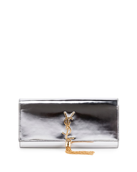 Saint Laurent Monogram Metallic Tassel Clutch Bag, Silver