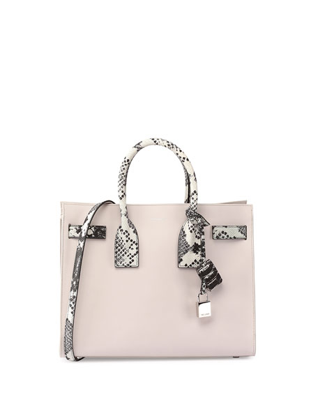 Sac de Jour Small Python-Stamp Satchel Bag, Black/White/Gray