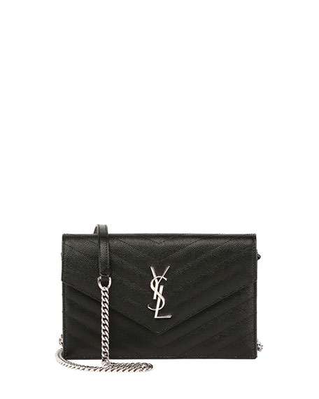 Saint Laurent Monogram Wallet-on-Chain, Black
