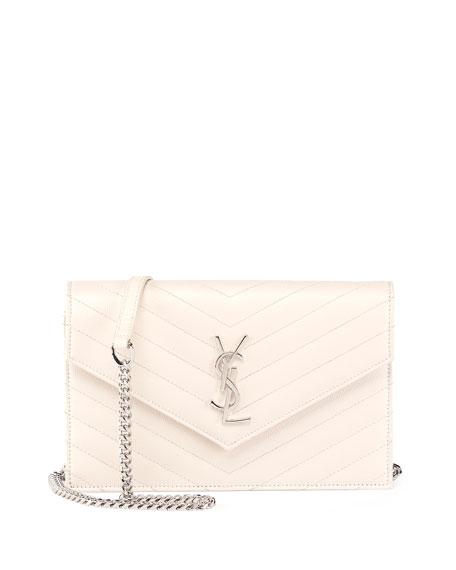 www yves saint laurent bag - Saint Laurent Monogram Matelasse Envelope Wallet-on-a-Chain, White