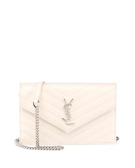 www yves saint laurent bag - Saint Laurent Monogram Matelasse Envelope Wallet-on-a-Chain, White