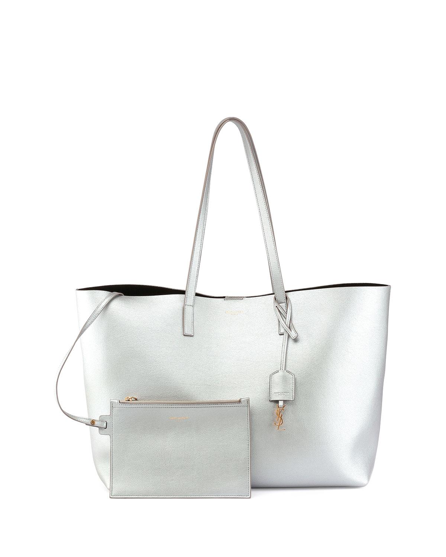 0803318633 Saint Laurent Large Shopping Tote Bag, Silver   Neiman Marcus