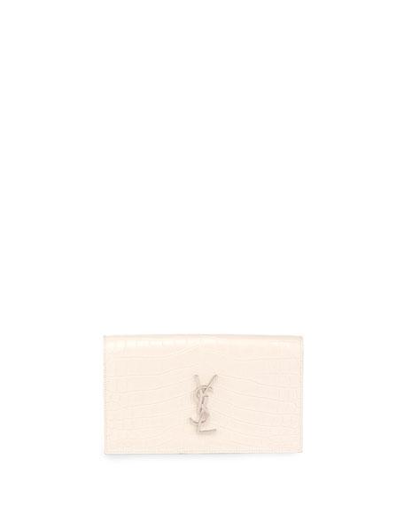 Monogram Croc-Embossed Clutch Bag, White