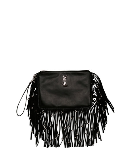 Saint Laurent Monogram Fringe Beaded Pouch, Black