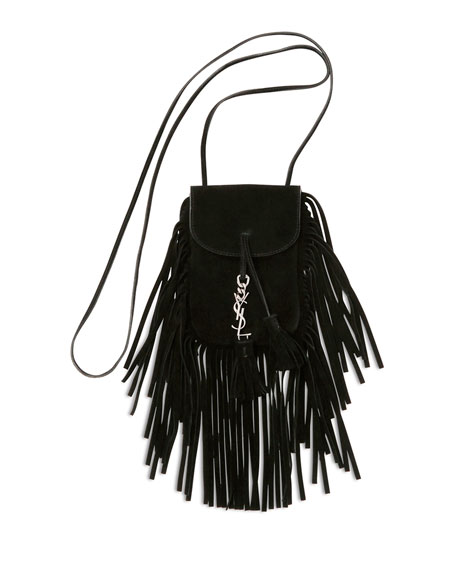 Anita Mini Flat Suede Shoulder Bag with Fringe, Black