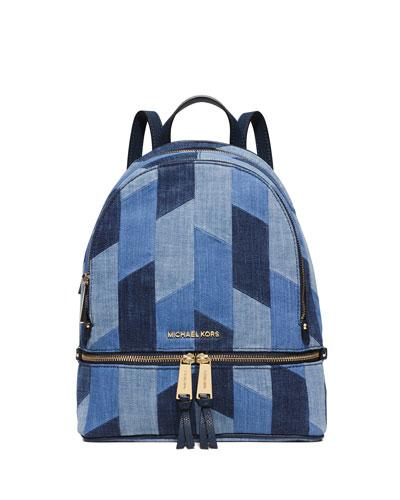 d40b40f6094 MICHAEL Michael Kors Rhea Small Patchwork Denim Backpack, Multi Blue