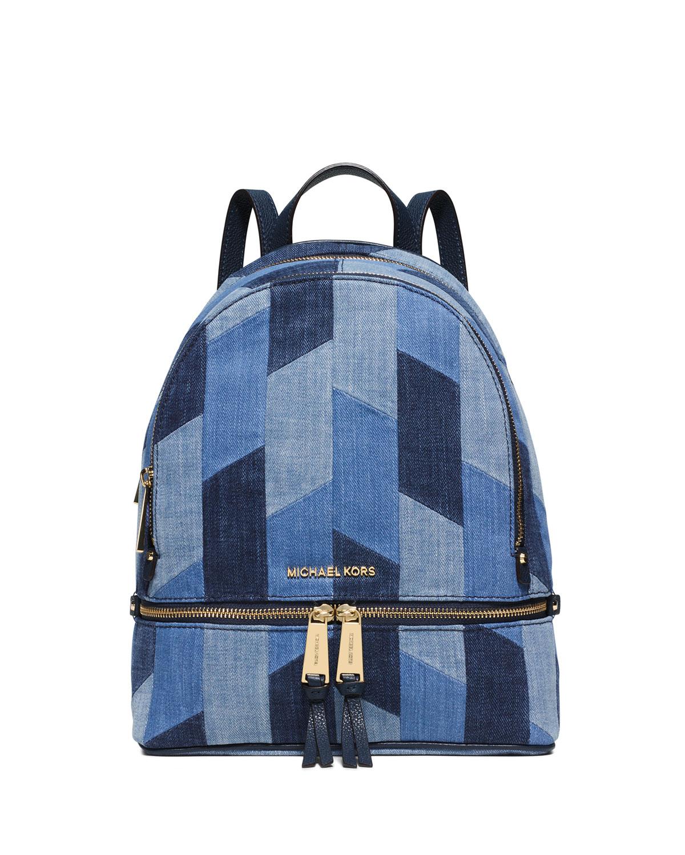 cc9284c9203b MICHAEL Michael Kors Rhea Small Patchwork Denim Backpack, Multi Blue ...