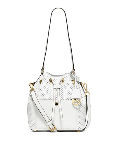 Greenwich Medium Perforated Saffiano Bucket Bag, Optic White