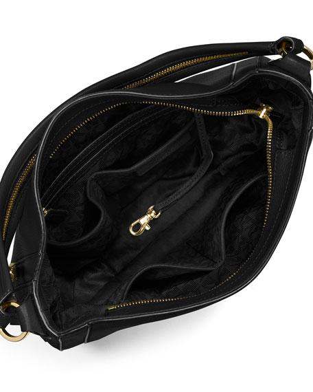 Julia Medium Leather Convertible Shoulder Bag, Black