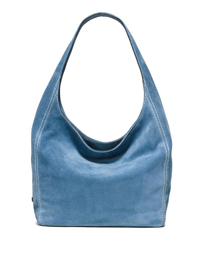 Lena Large Suede Shoulder Bag, Denim
