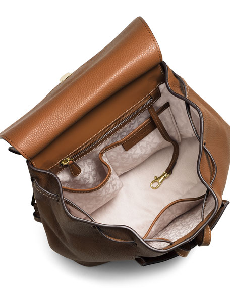Romey Medium Leather Backpack, Acorn
